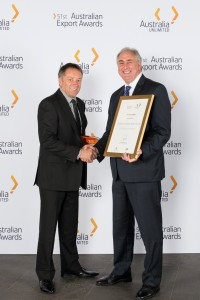 John Talbot, Managing Director of TQM, and Mitchell Wild, Head of Customer Service and Sales at Qantas after the award was presented.