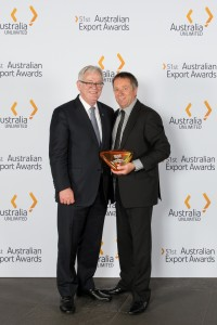 John Talbot, Managing Director at TQM with Federal Trade Minister Andrew Robb.